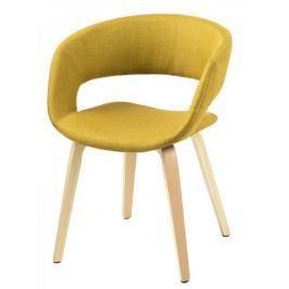 Design Scandinavia Jídelní židle Garry s dřevěnou podnoží žlutá