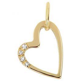 Brilio Zlatý přívěsek srdce s krystaly 249 001 00429 - 0,75 g zlato žluté 585/1000