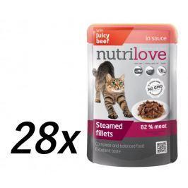 Nutrilove Cat pouch NMP, gravy beef 28 x 85g