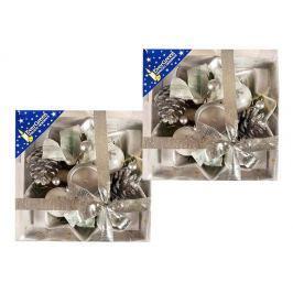 EverGreen Svícen hvězda 2 ks stříbrná Vánoční dekorace