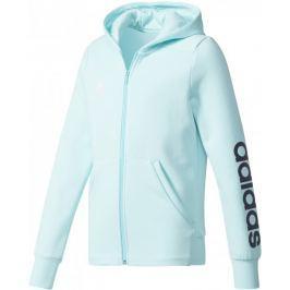 Adidas YG Linear Full Zip Hoodie Energy Aqua/Collegiate Navy/White 140