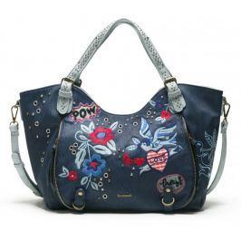 Desigual tmavě modrá kabelka Denim Flowers Rotterd