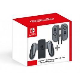 Nintendo Switch Joy-Con (pár) šedý +Charging Grip