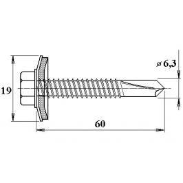 LanitPlast Šroub do železa TEX 6,3 x 60 mm šestihranná hlava