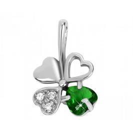 Brilio Silver Stříbrný přívěsek čtyřlístek 446 001 00349 04 - zelený - 0,43 g stříbro 925/1000