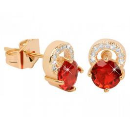 Troli Pozlacené třpytivé náušnice s červenými krystaly Náušnice