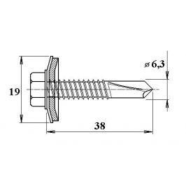 LanitPlast Šroub do železa TEX 6,3 x 38 mm šestihranná hlava
