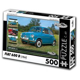 RETRO-AUTA© Puzzle č. 49 - FIAT 600 D (1964) 500 dílků