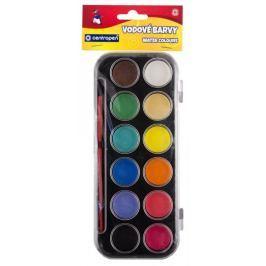 Barvy vodové 12 odstínů - 30 mm, černý barevník, Centropen