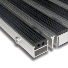 FLOMAT Hliníková gumová čistící vstupní venkovní kartáčová rohož Alu Extra - 100 x 100 x 2,7 cm