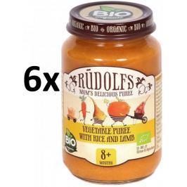 RUDOLFS Dětské masové pyré zelenina + rýže + jehněčí - 6x190 g