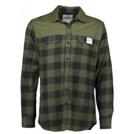 AQUA PRODUCTS Aqua Flanelová Košile Long Sleeve Green Check Flannel Shirt S
