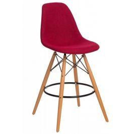 Mørtens Furniture Barová židle s dřevěnou podnoží Desire čalouněná, šedá / červená