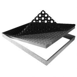 FLOMAT Kovová rohož ze svařovaných podlahových roštů s gumou bez pracen Galva - 151,5 x 43 x 6 cm