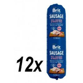 Brit Sausage Chicken & White Fish 12 x 800 g