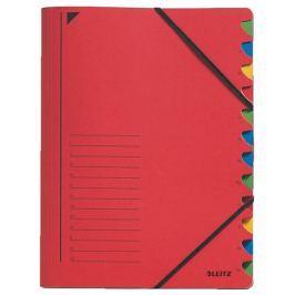 Třídící desky s gumičkou Leitz A4, 12 listů, červené