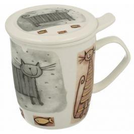 Marex Trade Velký hrnek na čaj s víčkem CATS 400ml + čajítko
