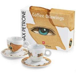 illy Sada šálků na cappuccino Max Petrone COFFEE DRAWINGS, 2 kusy