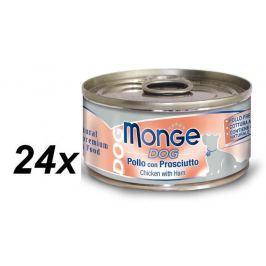 Monge Dog Natural kuřecí maso a šunka 24 x 95g