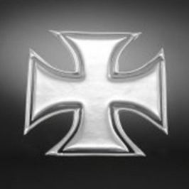 Highway-Hawk samolepící 3D emblém  GOTHIC CROSS (kříž), chrom (2ks)