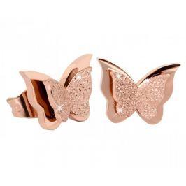 Troli Drobné motýlí náušnice Metal Butterfly KES-048-ROSEGOLD