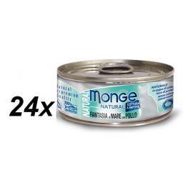 Monge NATURAL mořské plody s kuřecím masem pro kočky 24 x 80 g