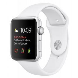 Apple Watch Series 1, 38 mm, stříbrný hliník – bílý sportovní řemínek