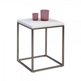 Artenat Odkládací stolek Olaf, 40 cm, bílá/nerez