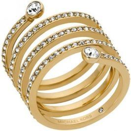 Michael Kors Pozlacený ocelový prsten s krystaly MKJ4722710 (Obvod 58 mm)