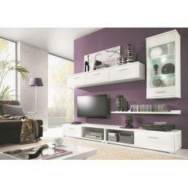 MALLIBU, obývací stěna, bílá/bílý lesk