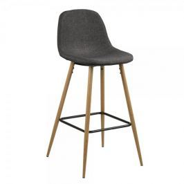 Design Scandinavia Barová židle Wanda (SET 2 ks), dub/šedá