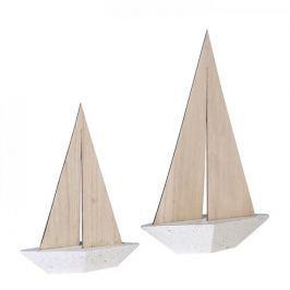 Papillon Dekorativní loďka Woody, beton/dřevo, 25 cm