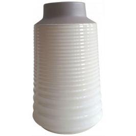 Home Keramická váza bílo hnědá vroubkovaná 17 × 26,5 cm