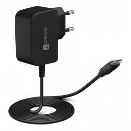 Connect IT InWallz SNAKE nabíjecí adaptér s kabelem USB-C, 2,4A, černý (CWC-1070-BK) - rozbaleno