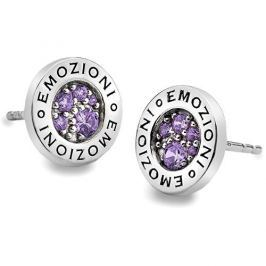 Hot Diamonds Sříbrné náušnice Emozioni Scintilla Violet Spirituality EE006 stříbro 925/1000