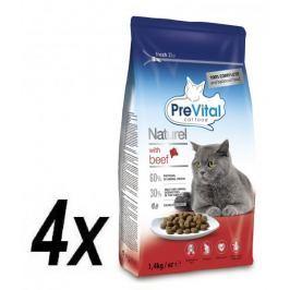 PreVital Naturel granule pro kočky hovězí 4 x 1,4kg