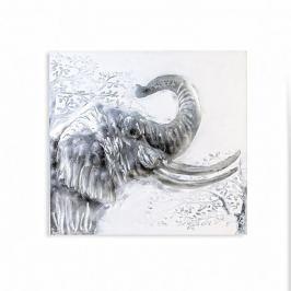 Papillon Obraz Slon s hliníkovou aplikací, 100x100 cm, olej na plátně