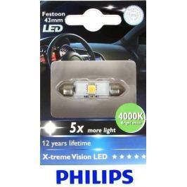 Philips Žárovka typ C5W, 12V, 1W, X-tremeVision LED 4000K