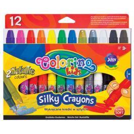 Pastelky voskové Silky Colorino  3v1 v tužce, 12 barev (10 + 2 metalické)