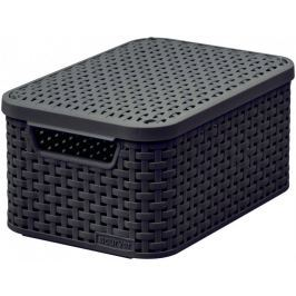 Curver Rattan Style box s víkem S tm. hnědý