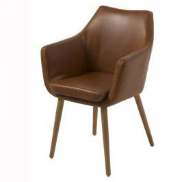Design Scandinavia Jídelní / jednací židle s područkami Marte, hnědá