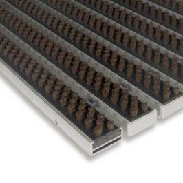 FLOMAT Hnědá hliníková čistící kartáčová venkovní vstupní rohož Alu Super - 100 x 100 x 1,7 cm