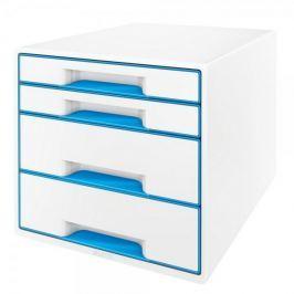 Box zásuvkový Leitz WOW 4 zásuvky modrý/bílý Boxy, stojany