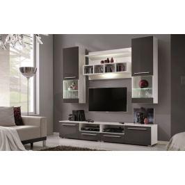 WUU-2020, obývací stěna, bílá/šedý lesk