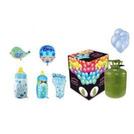 Helium sada na oslavu NAROZENÍ CHLAPEČKA + 10 latexových a fóliových balónků