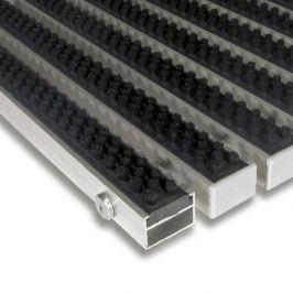 FLOMAT Černá hliníková čistící kartáčová venkovní vstupní rohož Alu Super - 60 x 90 x 2,2 cm