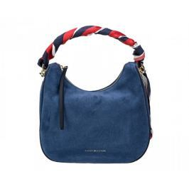 Tommy Hilfiger Dámská kabelka Iconic Foulard Leather Sm Hobo Suede Dutch Blue