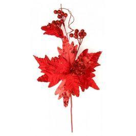 Seizis Květ dekorační s kouličkami červený, 45cm, 3ks