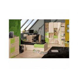 Komoda, 1 dveřová se 4 zásuvkami, jasan/zelená, EGO L6