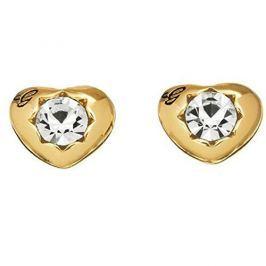Guess Pozlacené náušnice srdíčka s krystaly UBE51416